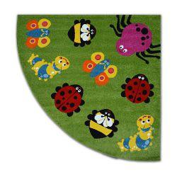 Teppich PAINT Viertelkreis G4774 - Tiere grün/sahne