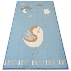 Teppich für Kinder LOKO Vogel blau Antirutsch