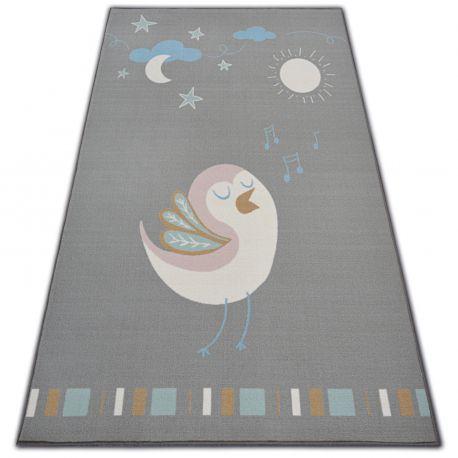 Teppich für Kinder LOKO Vogel grau Antirutsch