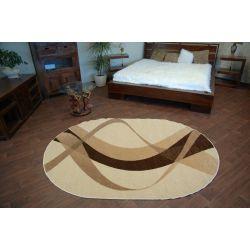 Teppich KARMEL oval braun cremefarbig